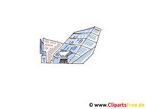 Clipart modernes Gebäude aus Glas