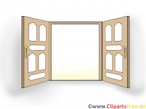 Dubbel dörr ClipArt, bild, illustration