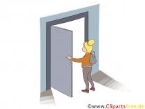 Kvinde, der åbner døren Clipart, billede, illustration