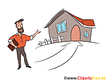 Haus kaufen über Makler Clipart, Illustration, Bild, Grafik gratis