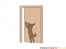 Chien ouvre la porte Clip Art, photo, illustration