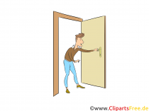 Homme entre dans un appartement clip art, photo, illustration