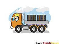 Vrachtwagentransport, Logistiek - Industrie Cliparts, Zakelijke afbeeldingen, Zakelijke graphics, Illustraties