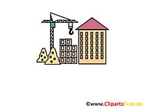 Neubau, Hausbau Clipart, Cartoon, Bild, Grafik
