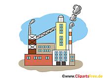 Productie, productielocatie - afbeeldingen uit de industrie, zakelijke illustraties, grafische afbeeldingen, Cliparts