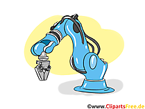 Roboter, Fliessband Automobilindustrie Clipart, Bild, Cartoon