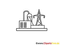 Stromerzeugung, Kraftwerk Zeichnung, Grafik, Clipart, Bild