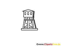Turm, Wache, Grenze Zeichnung, Grafik, Clipart, Bild