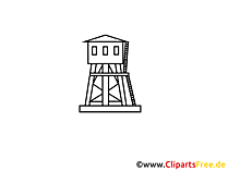Toren, wacht, grenstekening, grafisch, clipart, afbeelding