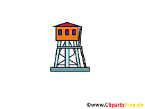 Überwachungsturm Clipart, Bild, Cartoon, Grafik gratis