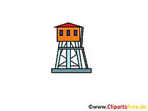 Surveillance toren clipart, foto, tekenfilm, gratis grafisch