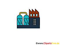 Fabrieksbouw werktekening, grafisch, clipart, afbeelding