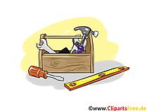 Zimmermann-Werkzeugkiste - Industrie Cliparts, Wirtschaft Bilder, Business Grafiken, Illustrationen