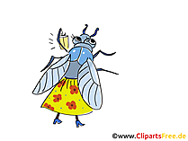 Fliege Comic, Cartoon, Clipart, Bild, Zeichnung, Illustration gratis
