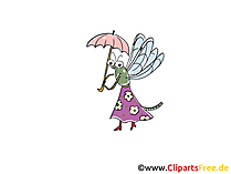Fliege mit Regenschirm Comic, Cartoon, Clipart, Bild, Zeichnung, Illustration gratis