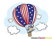 4 Juli Amerika Clipart, Bild, Grusskarte gratis