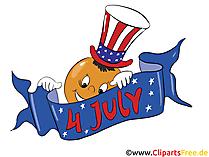 4 Juli Amerika Unabhängigkeitstag Grusskarte, Clipart, Bild, Cartoon