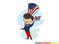 4 Juli Feiertag Clipart, Bild, Grusskarte, Cartoon gratis