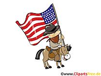 4 Juli USA Unabhängigkeitstag Grusskarte, Clipart, Bild, Cartoon