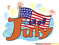 4th July Flags Clipart, Greeting Card, Image