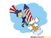 4th of July Fireworks Clipart, Bild, Grusskarte gratis