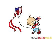 Amerikanischer Unabhaengigkeitstag Clipart, Bild, Grusskarte gratis