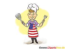 Barbecue 4th July Illustration, Clipart, Bild, Grusskarte gratis