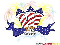 Firework Clipart 4 July, Bild, Grusskarte gratis