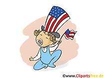 Unabhängigkeitstag USA Clipart, Bild, Grusskarte gratis