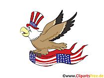 USA Unabhängigkeitstag Clipart, Bild, Grusskarte, Cartoon gratis