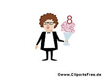 Wuensche zum Frauentag Glueckwunschkarte, Bild, Cartoon