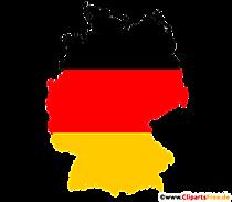 Obrysy Nemecka - mapa Nemecka v čiernej, červenej, zlatej farbe