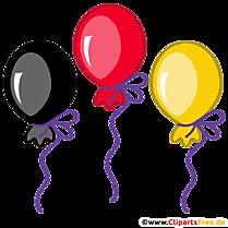 Baloane în negru, roșu, imagine de culoare aurie, ilustrație, clipart