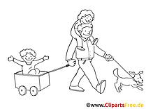 Vatertag Bollerwagen Bild zum Ausmalen