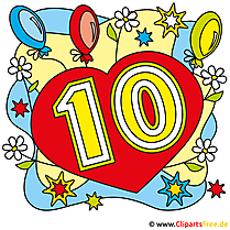 10 years birthday pictures, clipart, greetings cards