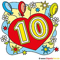 10 Jahre Geburtstag Bilder, Cliparts, Glückwunschkarten