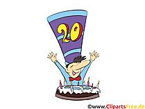 20 Jahre Glückwünsche, Grusskarten, Bilder, Pics, Cliparts