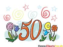 50 Jahre Jubiläum Grusskarte, Clipart, Bild, Gratulation kostenlos