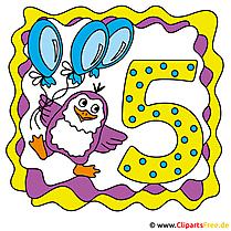 5 Jahre Glückwunschkarte, Clipart