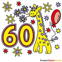 60 Jubiläum Karte - Clipart gratis