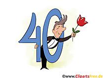 e-Card 40 Jahre Geburtstagsgruss,  Glückwunsch, Gratulation, Einladung - Vorlage