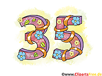 Geburtstagsgrüsse Karten zum 35 Jubiläum, Cliparts, Cartoons, Grafiken