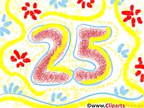 Geburtstagskarte 25 Jahre, Clipart Geburtstag, Bild, Grafik