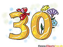 Geburtstagssprüche 30 Jahre - Clipart, Grusskarte, Glückwunschkarte, eCard, Vorlage Einladung