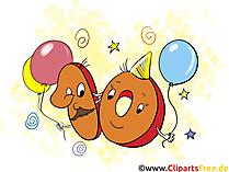 Geburtstagswünsche 10 Jahre Clipart, Grusskarte, Glückwunschkarte