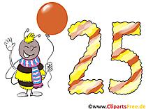 Geburtstagswünsche zum 25 Geburtstag - Karte, Clipart, Bild gratis