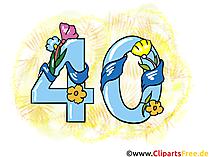 Glückwunsch 40 Jahre - Clipart, Grusskarte, Glückwunschkarte, eCard, Vorlage Einladung