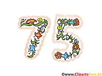 Glückwunsch zum 75 Geburtstag - Geburtstagsgruss, Glückwunschkarte, Clipart, Bild