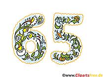 Glückwunschkarte  65 Jahre Jubiläum - Glückwunschkarte, Clipart, Bild, Grafik für Einladung