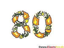 Glückwunschkarte 80 Jahre Jubiläum Clipart, Bild, eCard, Grafik